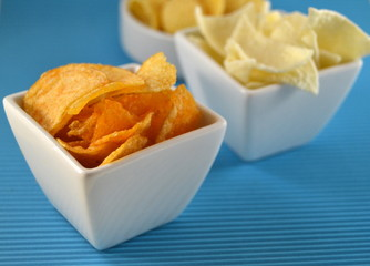 Different types of chips on a table