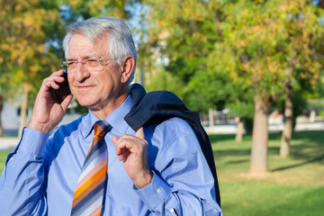 Businessman talking by phone in park