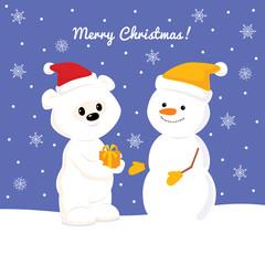 Christmas card with baby polar bear and snowman