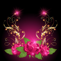 Golden ornament wth rose