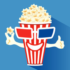 3d glasses put on a box with popcorn