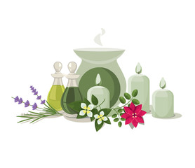 vector aromalamp and essential oils