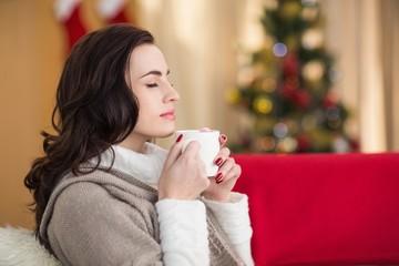 Brunette enjoying a hot chocolate at christmas