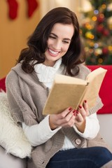 Smiling brunette reading on the couch at christmas