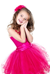 Adorable little girl in princess dress isolated