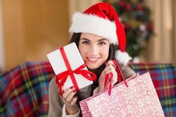 Smiling brunette holding gift and shopping bag  at christmas