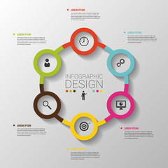 Circle business concepts with icons. Template. Vector