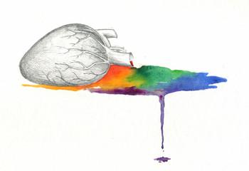 Heart bleeding rainbow watercolor