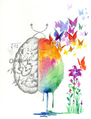 Brain hemispheres watercolored artwork