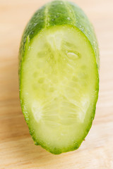 Cucumber Slice Macro on chopping board