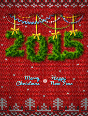 New Year 2015 of twigs like christmas decoration