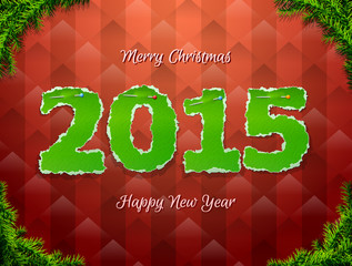 New Year 2015 of torn paper pinned pin. Christmas tree twigs