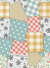 Seamless background pattern from scraps of fabric