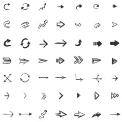 Vector Set of 49 Sketch Arrows and Cursors