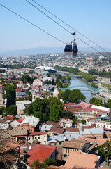 Cableway in old Tbilisi ,view from Narikala fortress,Georgia