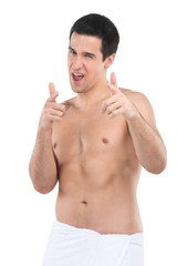 attractive young man pointing finger towards you.