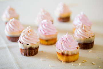 Pink cupcakes at white table  in high light style.