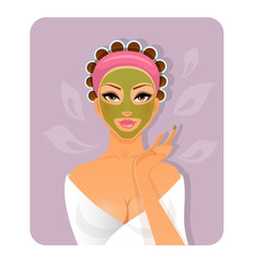 Beautiful woman with face-mask