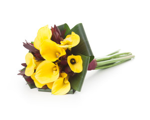 Yellow Callas wedding bouquet