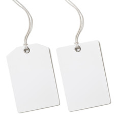 Blank paper price or gift tag set isolated