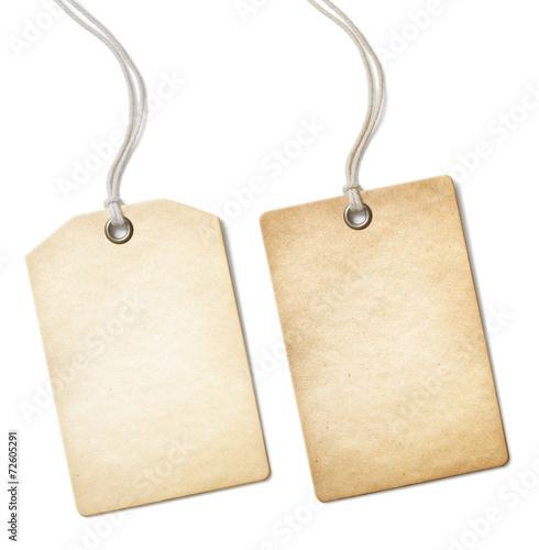 Leinwandbild Motiv Blank old paper price tag or label set isolated on white