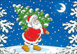 Santa Claus with a Christmas tree