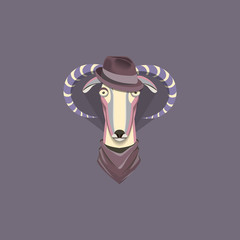 Vector illustration of goat, symbol of 2015. Element for New