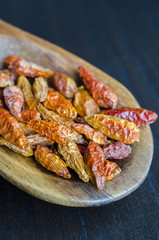 Dried small red hot chilli pepper (Bird's eye)