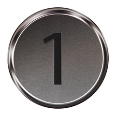 "Metal button black alphabet letter ""1""  isolated on white backgr"