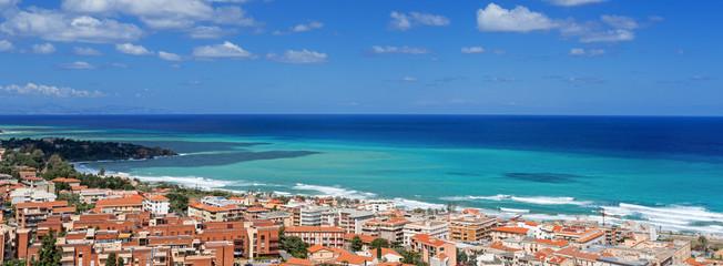 Bay in Cefalu Sicily panoramic beach