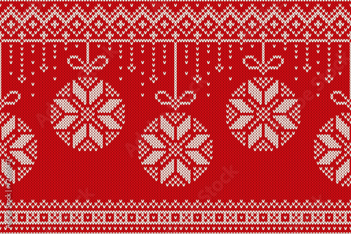 Cotton fabric Winter Holiday Christmas and New Year Seamless Knitting Pattern