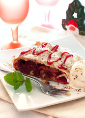 Christmas strudel with apples and cherries