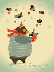 Bear and birds celebrate Christmas