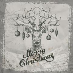 Merry Christmas. Deer and Christmas toys