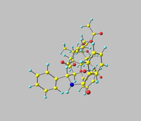 Paclitaxel molecule isolated on grey