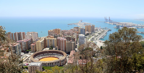 View of Malaga with the Plaza de Toros, Spain