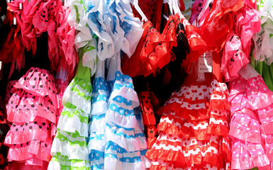 Typical colored Spanish flamenco dress, Spain