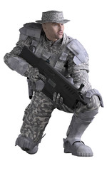 Futuristic Marine Ranger in Urban Camouflage, Crouching