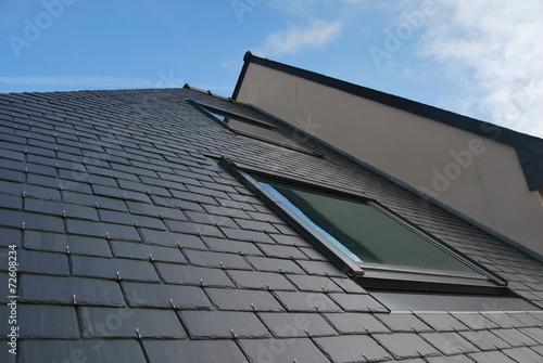 Lucarne sur toit en ardoises - 72608234
