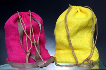 Shopping backpack made out of recycled Hessian sack
