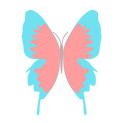 水色の羽の蝶のイラスト
