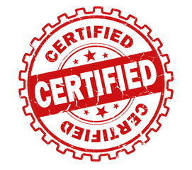 certified stamp on white background