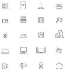 Domestic appliances icon set