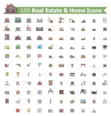 Real estate and home icon set