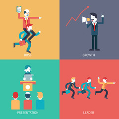 Business leadership character scenes concept icons set