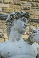 The statue of David by Michelangelo on the Piazza della Signoria