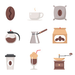 Coffe modern trendy flat isolated icons set vactor illustration