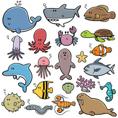 Vector Illustration of Sea animals Cartoon