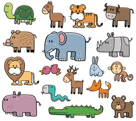 Vector Illustration of Cartoon Wild Animals set