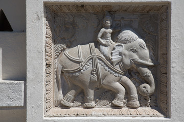 Figure of an elephant. Temple  bas-relief in Kandy